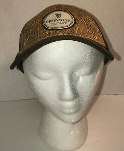 Guinness Pure Genius Woven Straw Brown Trucker Hat Osfm