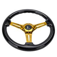 "Hiwowsport 14"" Black Wood Steering Wheel 6 Bolts 1.75"" Depth Gold Chromed Spoke"