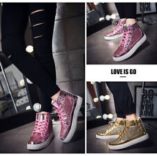 Men Rivet Punk Womens Shoes Sequins High Top Sneakers Lace up casual lovers boot