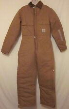 New Carhartt Quilt Lined Coveralls Brown Sz 36 Regular Insulated Winter Work