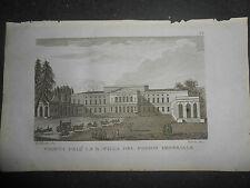 1830 INCISIONE VEDUTA VILLA MEDICEA DEL POGGIO IMPERIALE FIRENZE AUTORE VERICO
