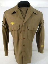 WWII US Army Enlisted Wool Uniform Shirt 3rd Pat w/Gas Flap Size 15 X 32 - 1942