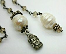 Gunmetal & Faceted Topaz Bead Lanyard Necklace Natural Freshwater Pearl & Charms