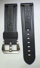 24mm anchura del estirón NEGRO PU GOMA RELOJ Correa con hebilla de acero Panerai Diseño Nuevo
