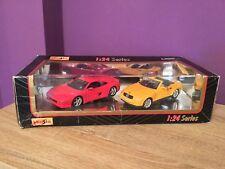 Maisto 1/24 Series Mercedes SLK 1997 & Ferrari F355 Car Models. Collectible.