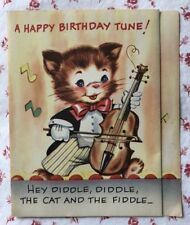 Vintage 1940s Mechanical Birthday Card Hey Diddle Cat & the Fiddle