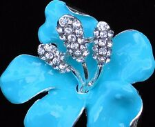 RHINESTONE TROPICAL ISLAND BLUE TEAL HIBISCUS LILY  FLOWER PIN BROOCH JEWELRY 2""