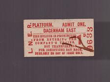 L.N.E.R  Platform Ticket - Dagenham East  - Dated 1951