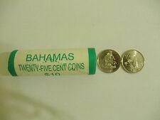2007 Bahamas 25 Cents Coins (20 Coins) Coat of Arms & Sailboat, Uncirculated