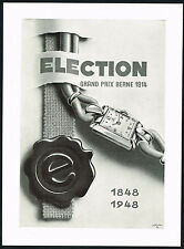 1940's Vintage 1948 Election Grand Prix Watch Mid Century Modern Art Print AD .
