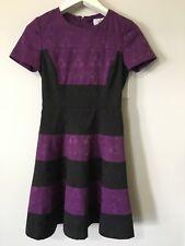 Belle Badgley Mischka Womens Size 2 Purple Black Floral Jacquard Dress Textured