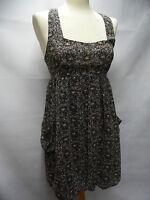 THE VESTRY stunning black ditsy floral print bubble hem summer sun dress Size S