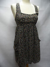 THE VESTRY stunning black ditsy floral print bubble hem summer sun dress Size S