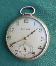ANTIQUE BULOVA 17 JEWEL POCKET WATCH 10K ROLLED GOLD PLATE SWISS PARTS OR REPAIR