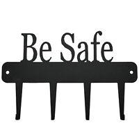 """Schlüssel Schild Anhänger """"Be Safe"""" Schlüsselbrett Schwarz Metall 4 Schlüssel"""