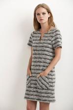 VELVET By Graham & Spencer Cicley Short Sleeve V Neck Sweater Dress Black S $158