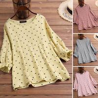 ZANZEA Womens 3/4 Sleeve Printed Heart Shirts Tops Casual Loose Blouse Plus Size