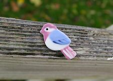 """Ceramic Bird Pin Pinback Brooch Hand Painted Pink Blue White Sparrow 1 5/8"""""""