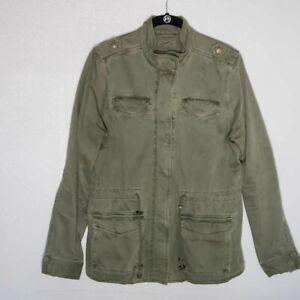 Lucky Brand Womens Military Jacket Green Snap Zip Up Flap Pockets Drawstring M