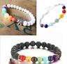 7Chakra Healing Beaded Bracelet Natural Lava Stone Diffuser Bracelet Jewelry SA