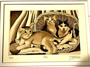 BEAUTIFUL VINTAGE LIMITED 37/85 ENGRAVING ETCHING CATS SIGNED