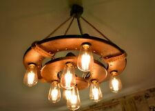 Wooden ceiling light with LED spots, circle chandelier, vintage bulbs, lamp