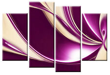 LARGE PLUM PURPLE BEIGE ABSTRACT CANVAS PICTURE 4 PANEL MULTI WALL ART 100cm