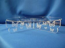 "12"" Acrylic cake stand  butterflies engraved design"