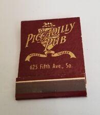 Vintage Matchbook Piccadilly Pub Naples Florida Virtue Et Valore Food & Drink FL