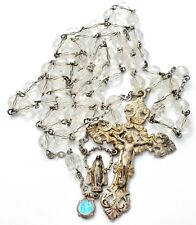 Sterling Silver Rosary Crystal Beads with Crucifix Cross CAP Blue Enamel 12 mm
