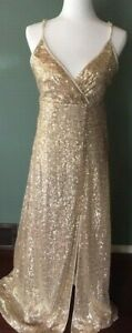 Sequin Gold Evening Dress ~ Long ~Size Large~ Long, Prom, Wedding