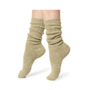 Jefferies Socks Womens Thick Ribbed Cotton Slouch Crew Scrunch Cuff Socks 2 Pair
