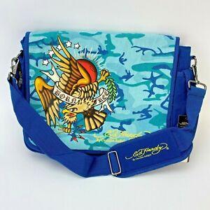 NEW Ed Hardy Leo Messenger Bag Christian Audigier Blue Camo Born Free