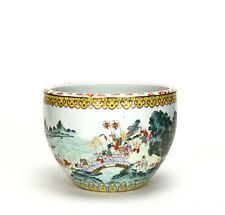Superb 19th c. Chinese Qing Famille Rose Children in Parade Porcelain Jardiniere