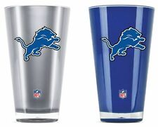 Detroit Lions Tumblers - Set of 2 20oz Glass [NEW] Tumbler Coffee Cup Mug