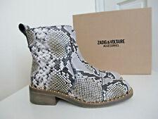 NIB $618 ZADIG & VOLTAIRE Empress Wild Clous Studded Boots Snake sz 38 8 Kahki