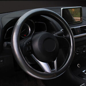 38cm Black PU Leather Car Steering Wheel Cover Universal Carbon Fiber Style 1x