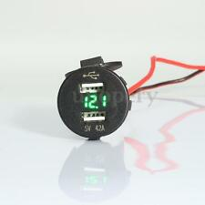 12V Car 4.2A Dual USB Charger Socket Adapter Voltage Voltmeter Motorcycle Green