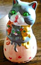 "Vintage Ceramic Momma Cat Kittens Bell ""God Bless This Home As Much As Possible"""