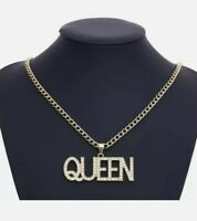 Queen Gold Chain Necklace Ice Hiphop Chain Lab Diamonds *UK SELLER* Premium