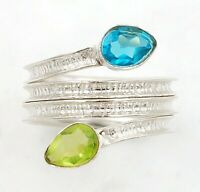 Flawless Blue Topaz 925 Solid Sterling Silver Ring Jewelry Sz 6.5 ED27-1