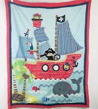 Lambs & Ivy Treasure Island Baby Comforter Pirate Ship Monkeys Stripes Blanket