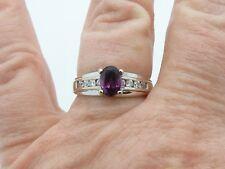 14k White Gold Ring 1.0CT Oval Rhodolite Garnet Ring 3.8g Ring Size 8.0