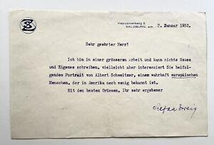 Stefan Zweig. Brief, Salzburg 1932. Über Albert Schweitzer. Signiert.