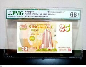 1996 Singapore $25 Commemorative Banknote PMG 66 EPQ P 33 GEM UNC