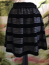"BNWT Jack Wills Black Velvet ""DEVORE"" Stripe Skirt Size 8"