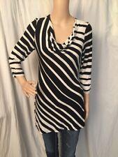White House Black Market Women's Diagonal Striped Cowl Neck Tunic Shirt Sz XS