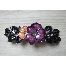 1928 Jewelry Flower Garden Barrette Purple & Pink Hand-Enameled ~Made in USA~