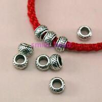 60Pcs Tibetan Silver Metal Big Hole Spacer beads For DIY Jewelry Making Supplies