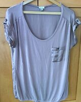 Dynamite Top Large Women's Brown Cami Button Sleeve Stretch Loose Fit Low Neck